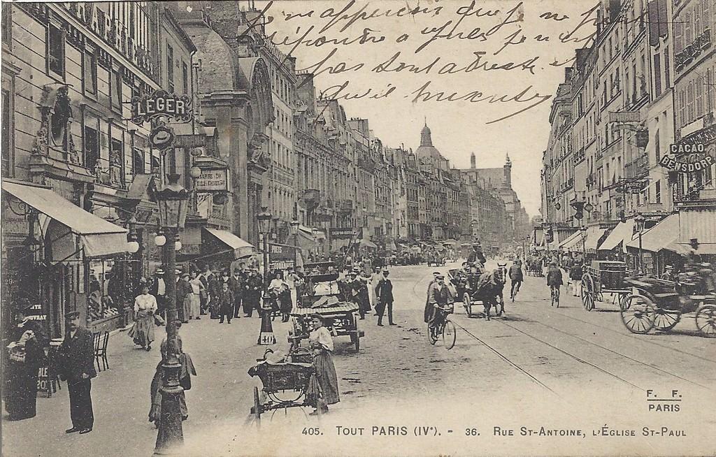 paris rue saint antoine paris ive arr cartes postales anciennes sur cparama. Black Bedroom Furniture Sets. Home Design Ideas