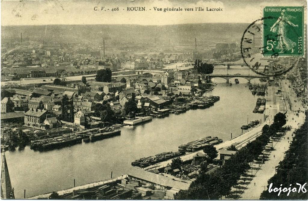 Rouen vue g n rale rouen cartes postales anciennes for Piscine ile lacroix rouen