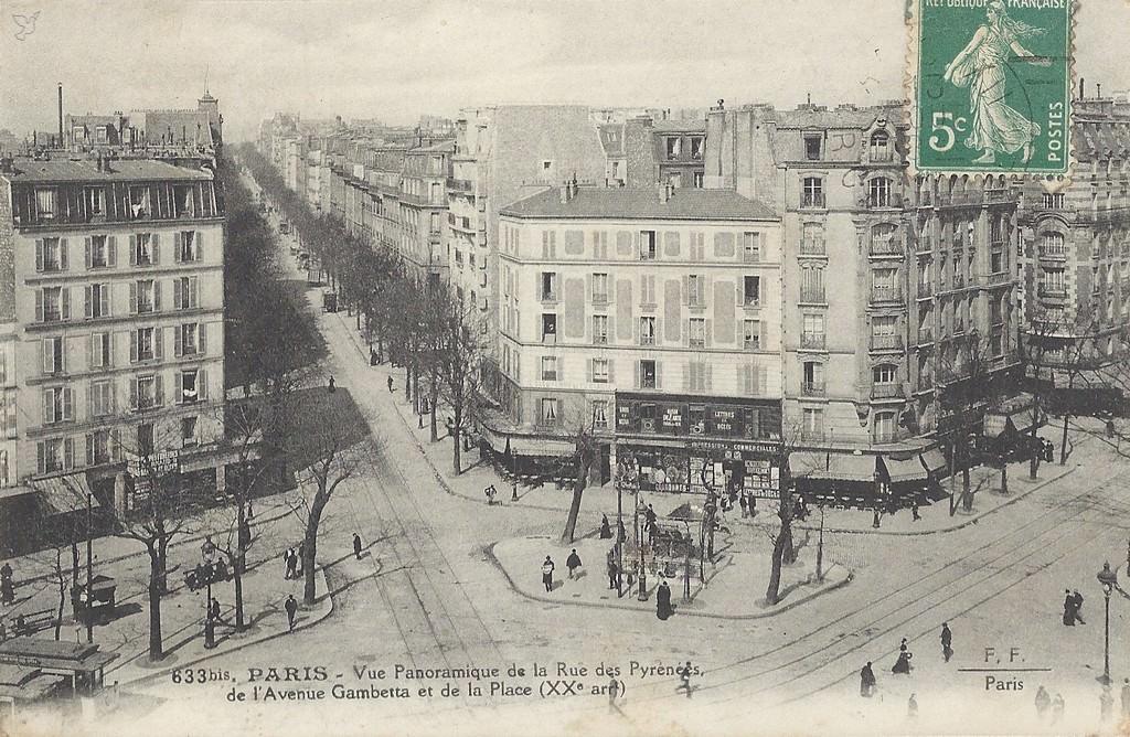 paris place gambetta paris xxe arr cartes postales anciennes sur cparama. Black Bedroom Furniture Sets. Home Design Ideas