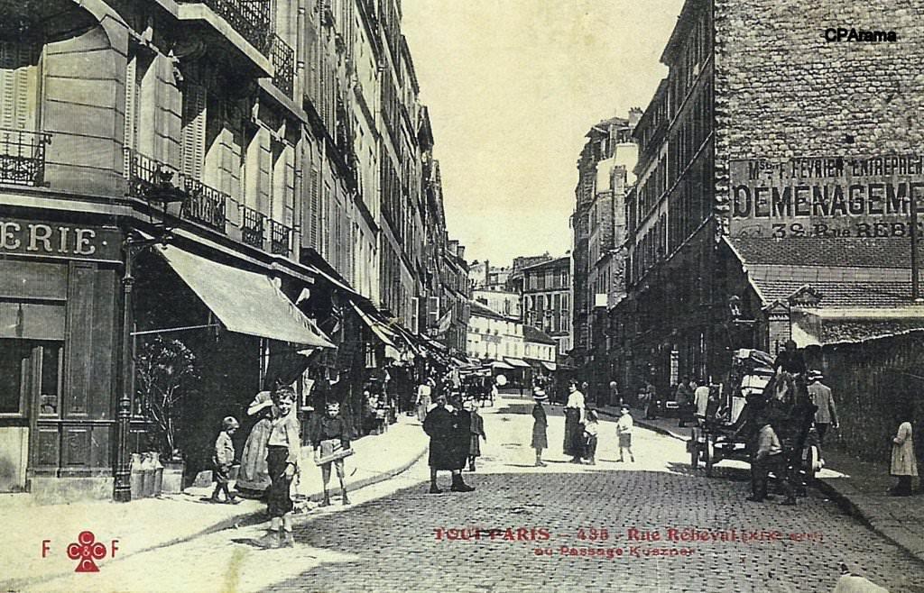 paris rue r beval paris xixe arr cartes postales anciennes sur cparama. Black Bedroom Furniture Sets. Home Design Ideas