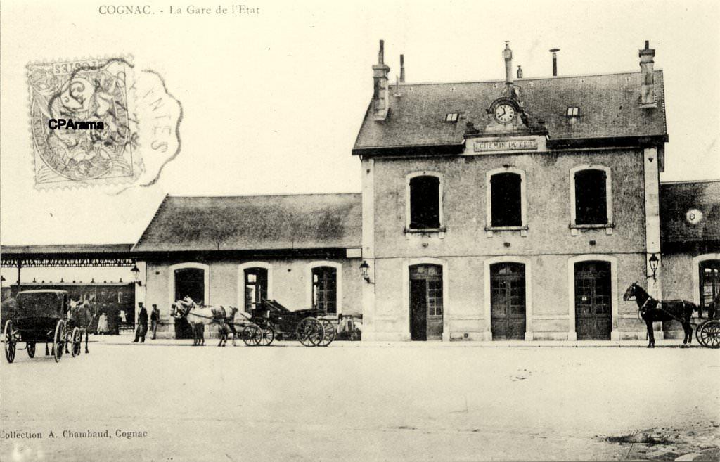 La gare de Cognac (fin XIXè-début XXè siècle), source: http://www.cparama.com