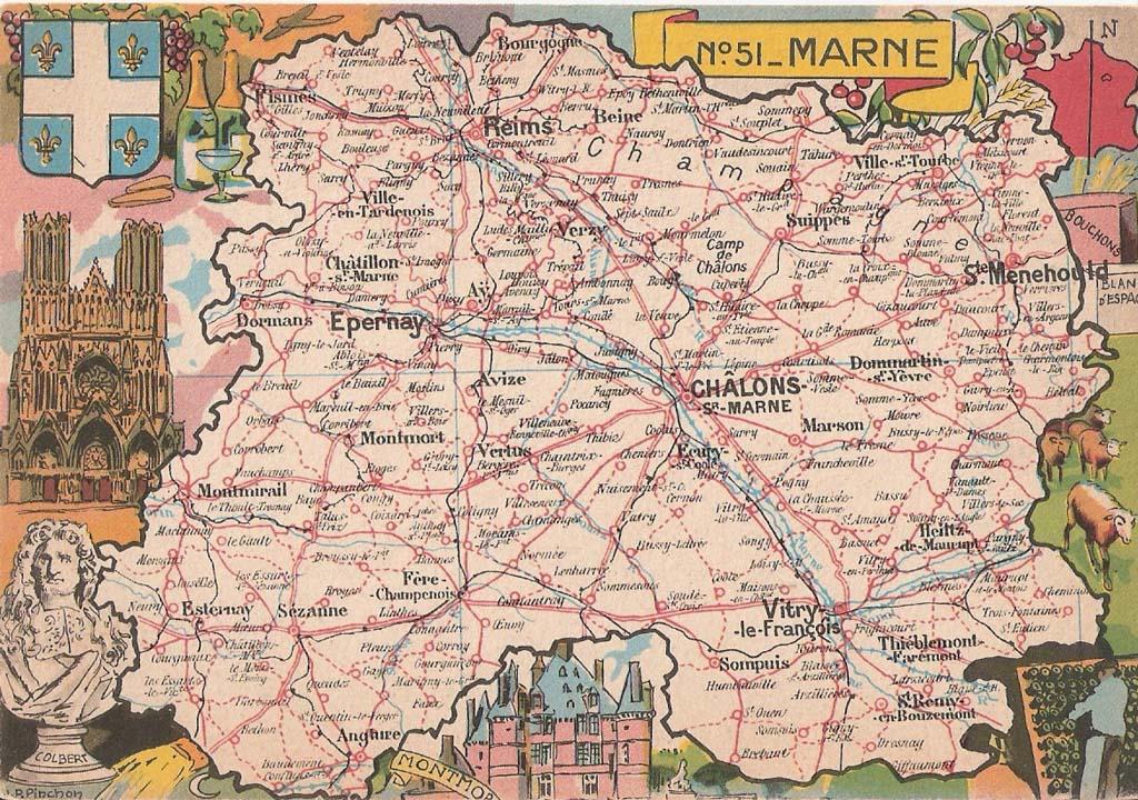 Carte du d partement 51 marne cartes postales for 51 haute marne
