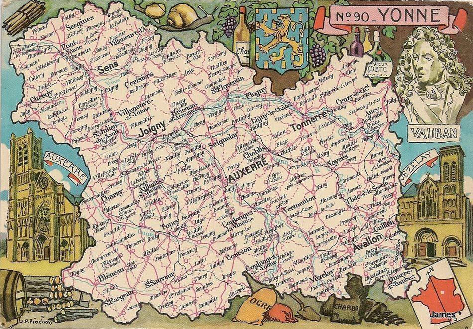 Carte du d partement 89 yonne cartes postales anciennes sur cparama - Leboncoin dans l yonne ...