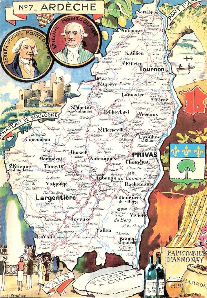 Extrêmement Carte du département de l'Ardèche : 07 - Ardèche | Cartes Postales  JD31