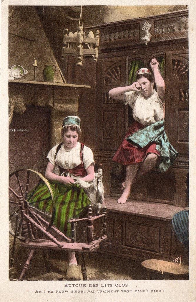 s rie autour des lits clos breton folklore des r gions page 4 cartes postales anciennes. Black Bedroom Furniture Sets. Home Design Ideas