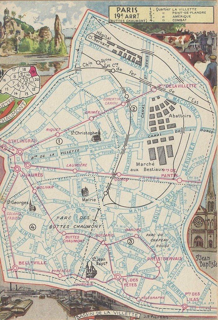 Plan du 19 me arrondissement paris xixe arr cartes for Christophe chaumont